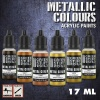 Metallic Paints Set, Gold, 6x17ml