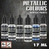 Metallic Paints Set, Silver, 6x17ml