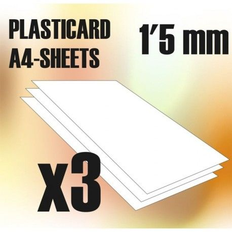 ABS Plasticard A4 - 1.5mm COMBO, 3 sheets