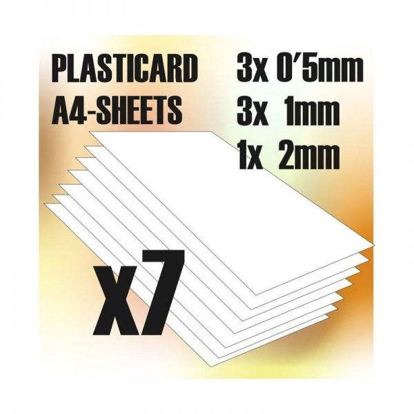 ABS Plasticard A4 - COMBO Variety 7 sheets pack