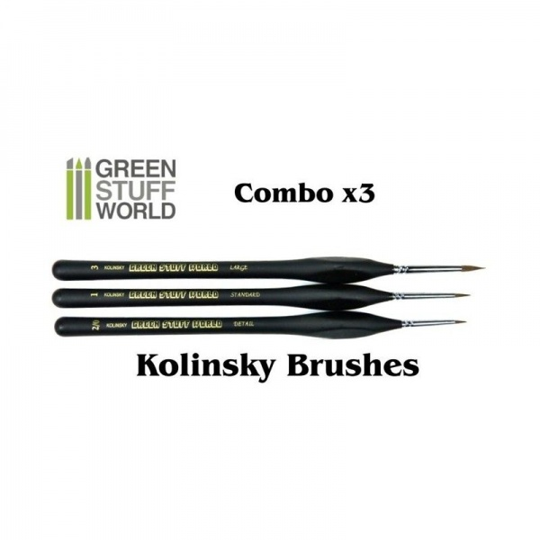 Brushes Combo, Natural Kolinsky, Set of 3