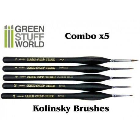 Brushes Combo, Natural Kolinsky, Set of 5