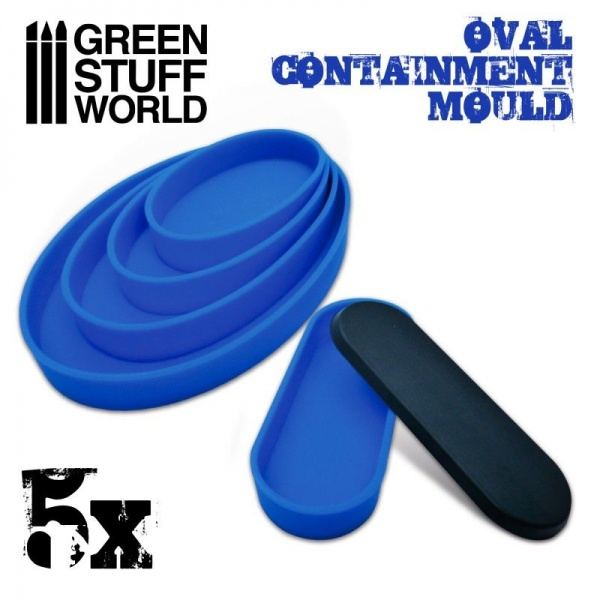 Containment Moulds for Bases, OVAL, Pack of 5
