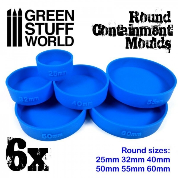Containment Moulds for Bases, ROUND, Pack of 6