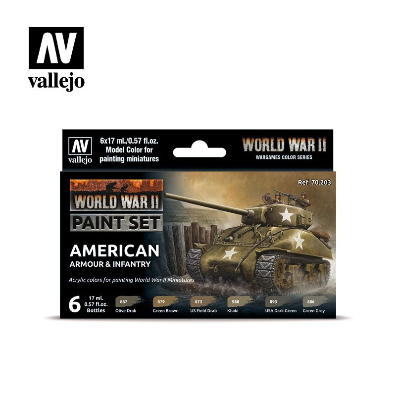 70203 Model Color Set - WWII American Armour & Infantry (6)