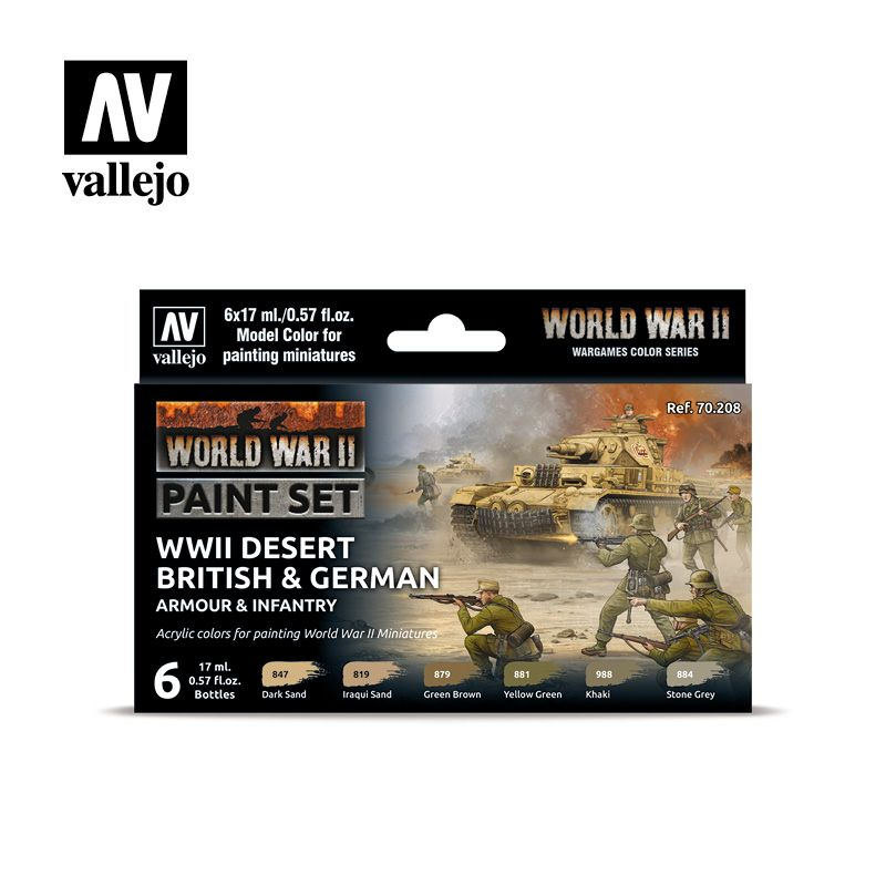 70208 Model Color Set - WWII Desert British and German Armour & Infantry (6)