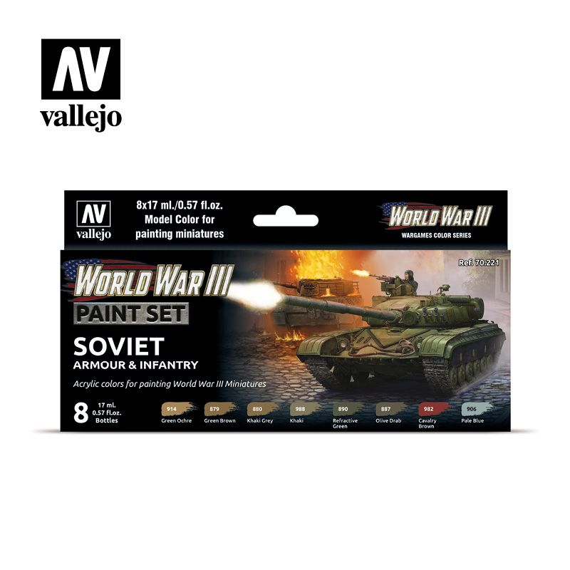 70221 Model Color Set - WWIII Soviet Armour & Infantry (8)