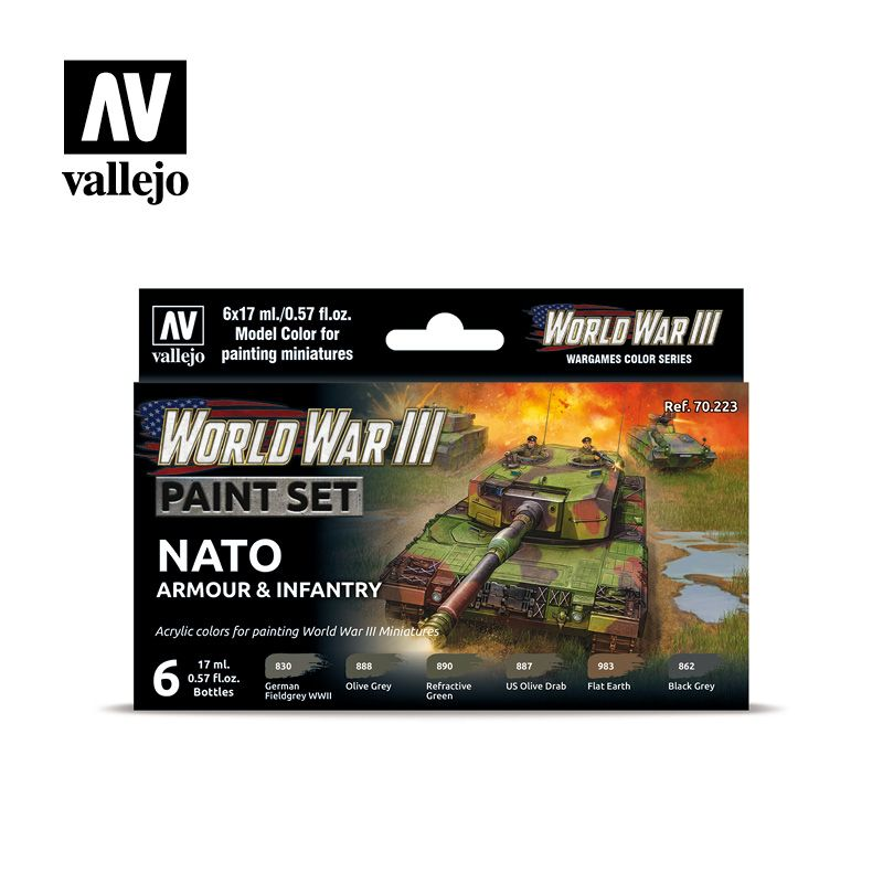 70223 Model Color Set - WWIII NATO Armour & Infantry (6)