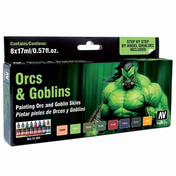 72304 Game Colour Set - Orcs & Goblins by Angel Giraldez (8x17ml)