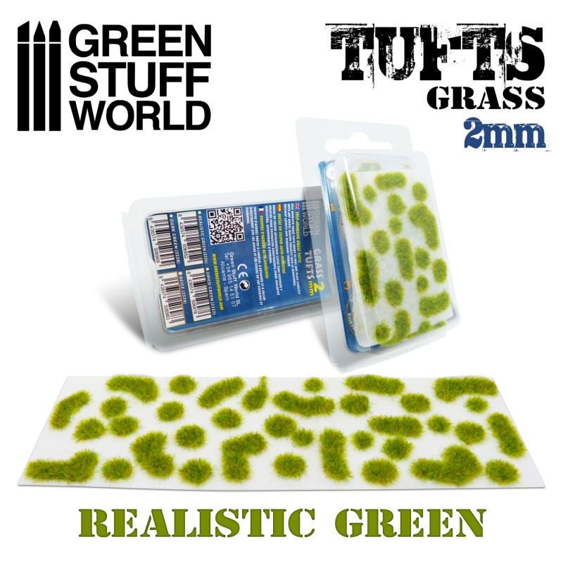 Grass TUFTS - 2mm self-adhesive - REALISTIC GREEN