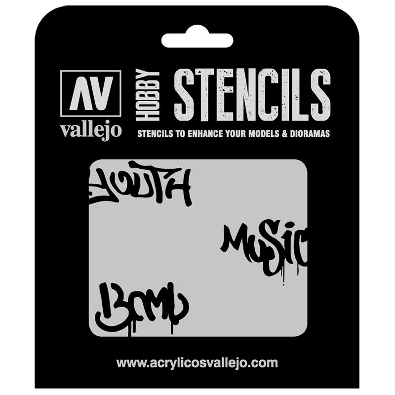 ST-LET003 Vallejo Hobby Stencils - Street Art no. 1, 1/35 Scale