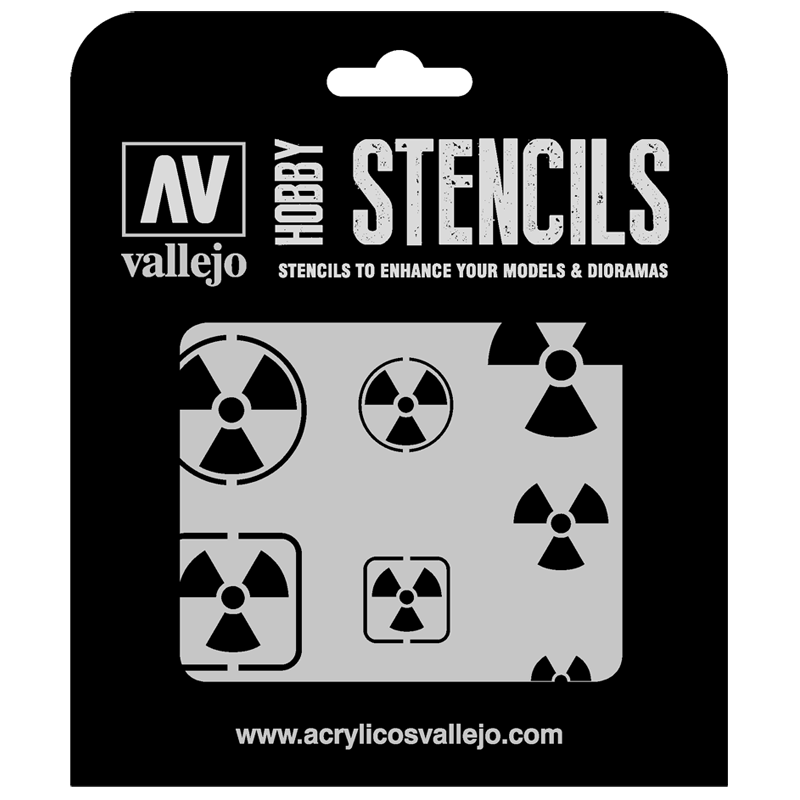 ST-SF005 Vallejo Hobby Stencils - Radioactivity Signs, 1/35 Scale