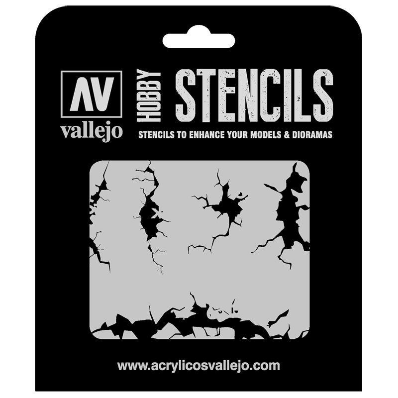 ST-TX001 Vallejo Hobby Stencils - Cracked Wall, 1/35 Scale