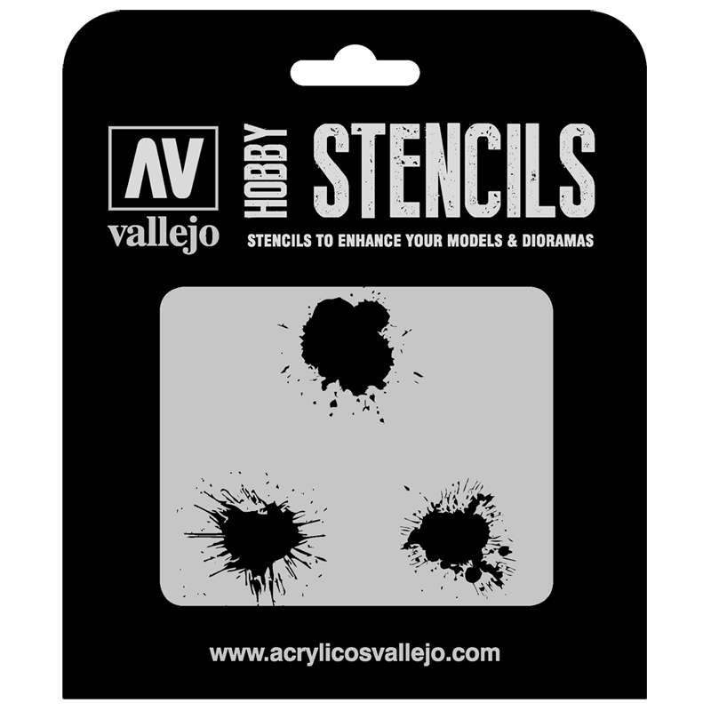 ST-TX005 Vallejo Hobby Stencils - Paint Stains, 1/35 Scale