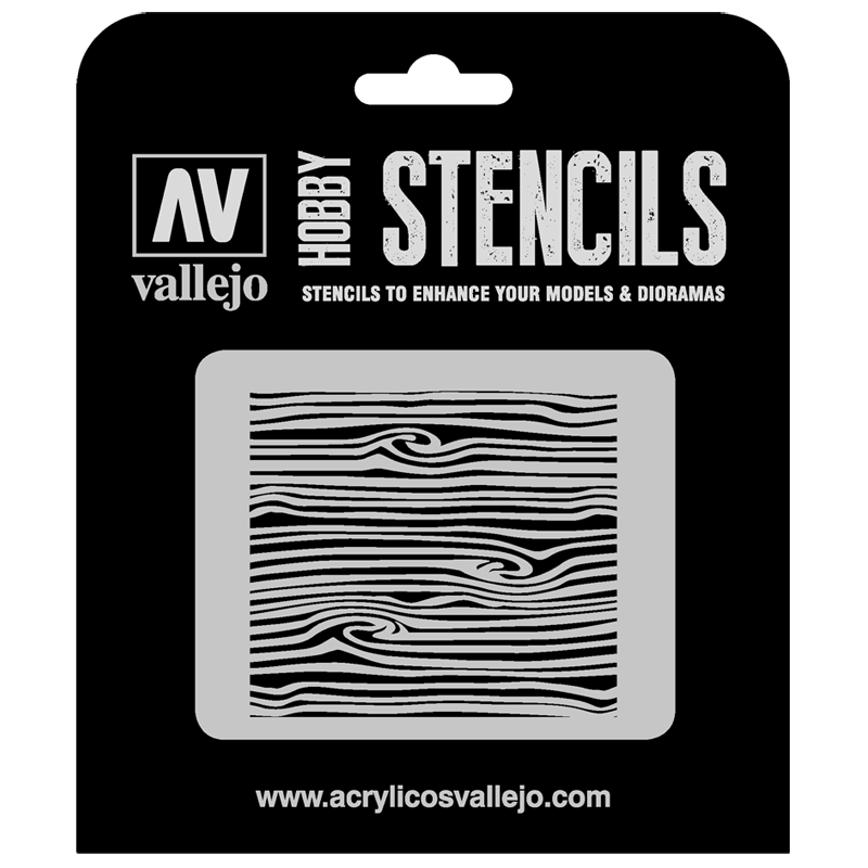 ST-TX007 Vallejo Hobby Stencils - Wood Texture no. 2, 1/35 Scale