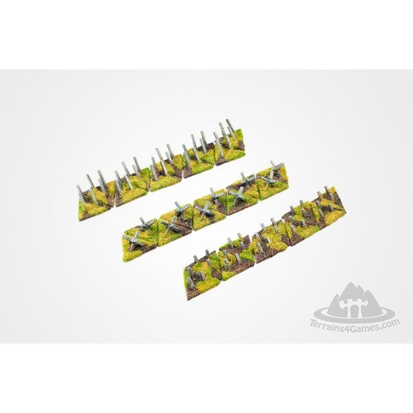 ANTI TANK DEFENCE SET, READY PAINTED, 15MM