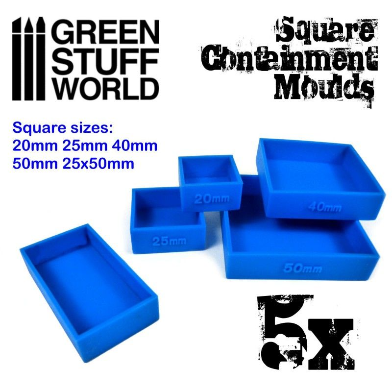Containment Moulds for Bases, SQUARE, Pack of 5