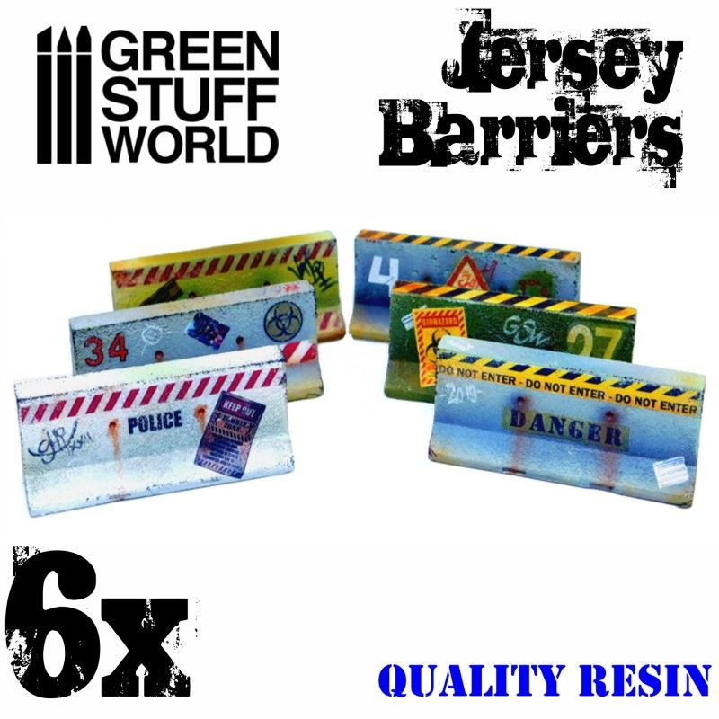 Jersey Barriers, Resin, 6x