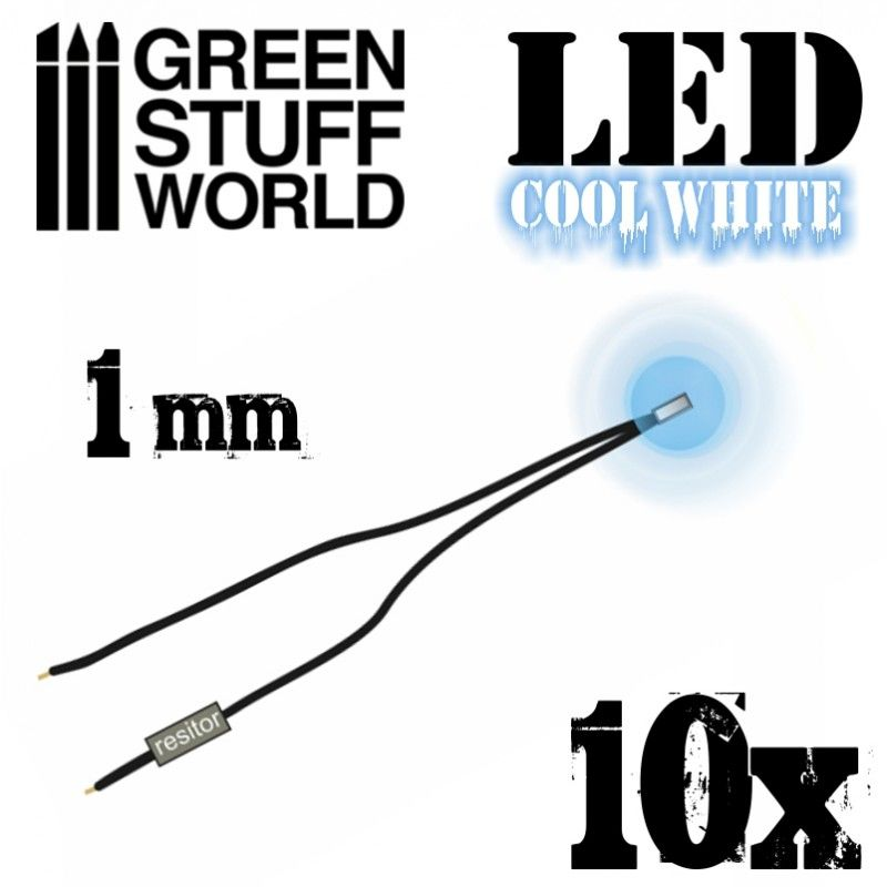 LED Lights, Cool White, 1mm, pack of 10