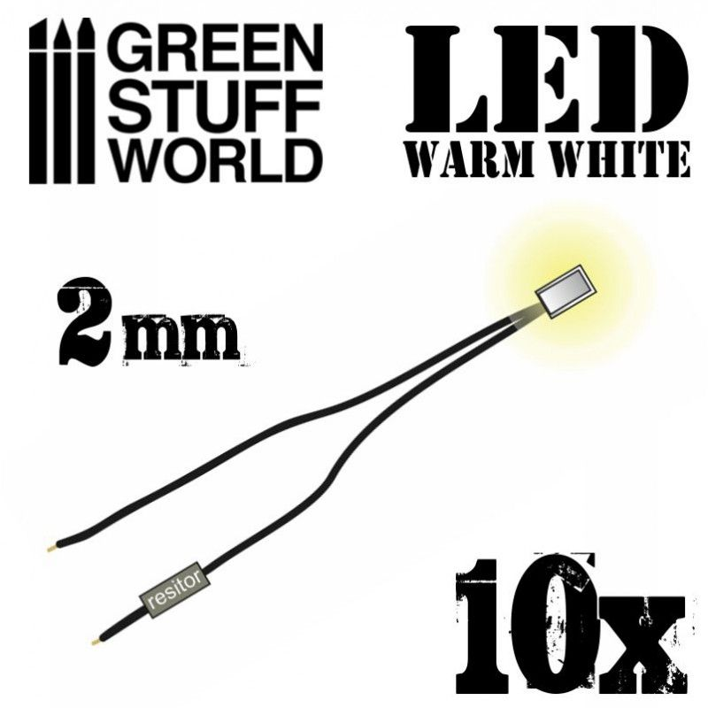 LED Lights, Warm White, 2mm, pack of 10