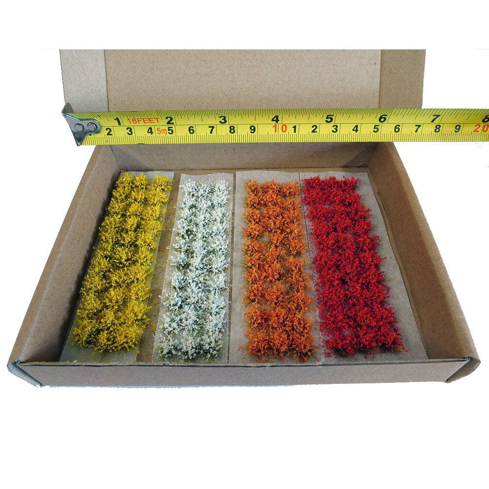 MODEL FLOWERS, MIXED PACK - RED, ORANGE, WHITE & YELLOW