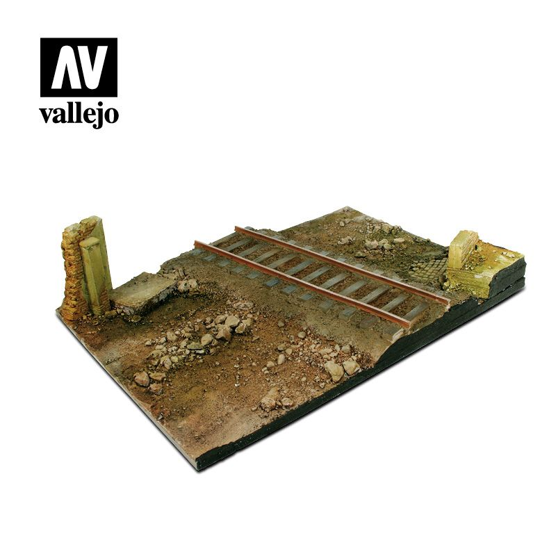 SC104 Vallejo Scenics: Country Road Cross With Railway Section 31x21, 1:35 SCALE