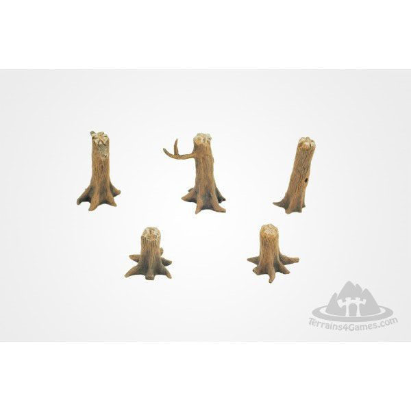 TREE TRUNKS ASSORTMENT, RESIN, UNPAINTED, 28MM