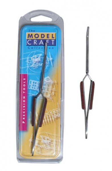 Reverse action curved fibre grip tweezers