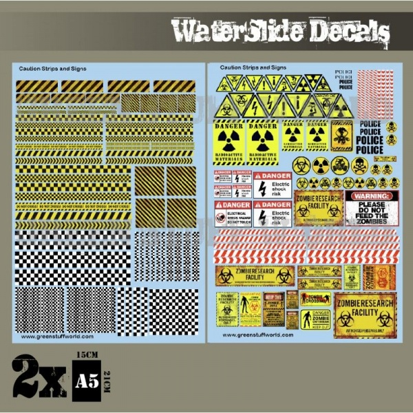 Waterslide Decals - Caution Strips & Signs