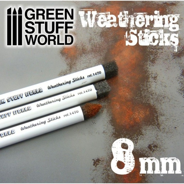 Weathering Brush Sticks, 8mm, Set of 3