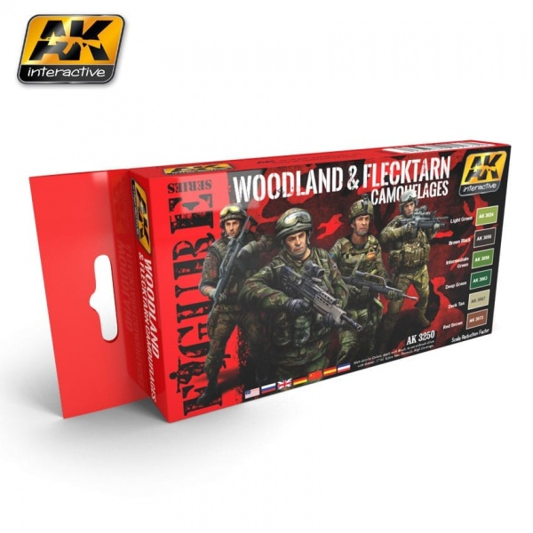 WOODLAND AND FLECKTARN CAMOUFLAGES PAINT SET